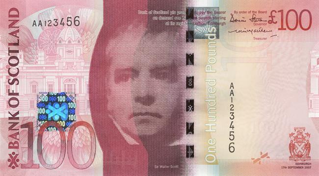 100イギリス ポンド紙幣(スコットランド)