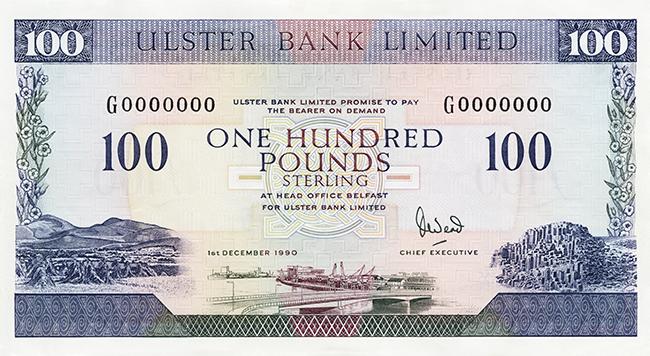 100イギリス ポンド紙幣(北アイルランド)
