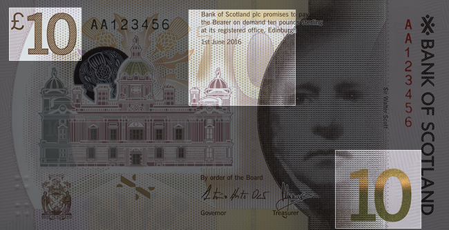 Front of note / Look / Denomination Numerals